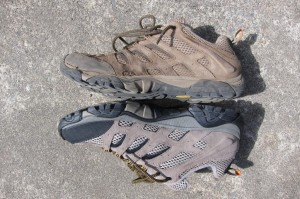 Merrell Moab Ventilator. See how the mid-sole is collapsed on the used shoe.